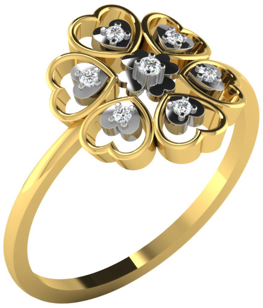 Sparkles Stunning 0.07 Ct Diamond & 18 Kt Gold Ring for Women