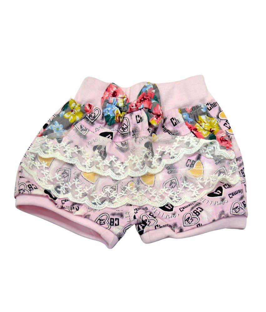 Asian Fusion Pink Cotton Patch Work Shorts