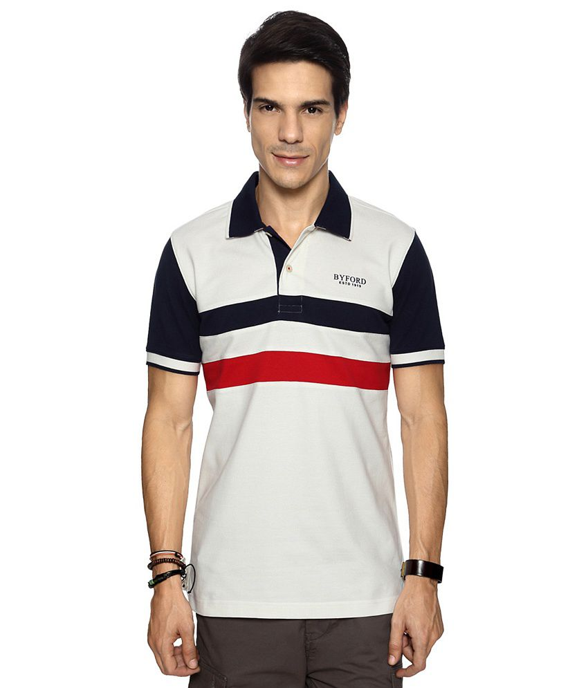 Byford by Pantaloons White Striped Regular Fit T shirt