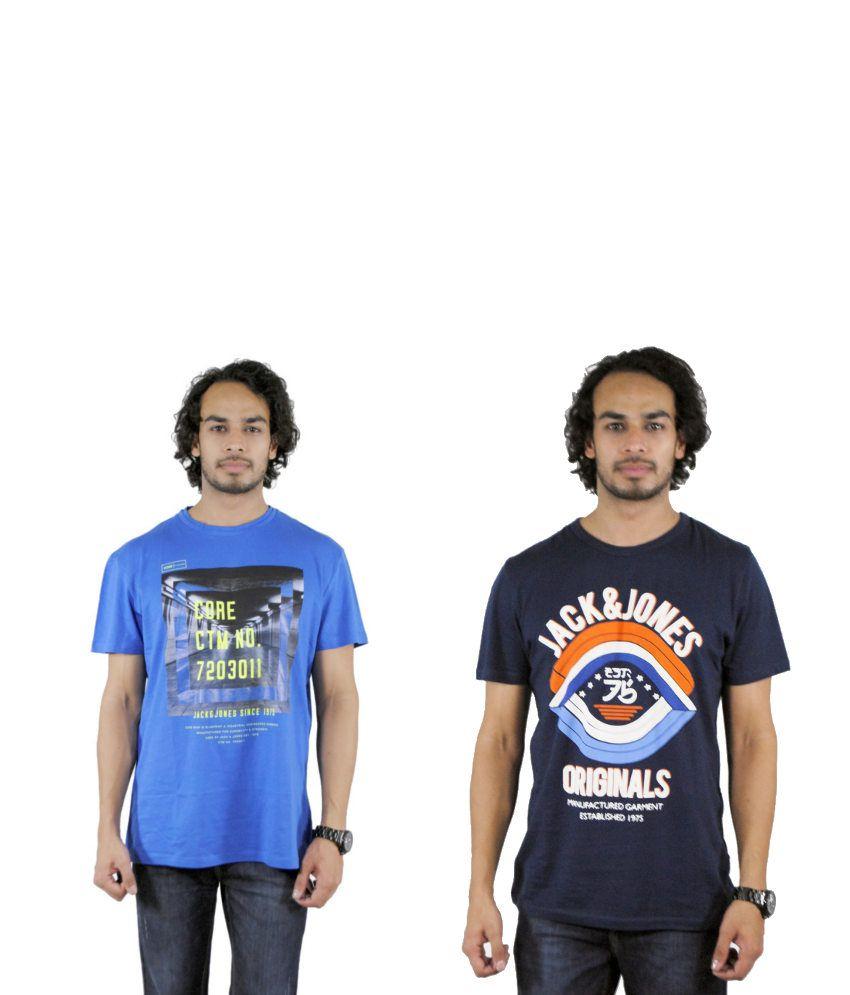 J&J Combo of 2 Blue Cotton T-shirts