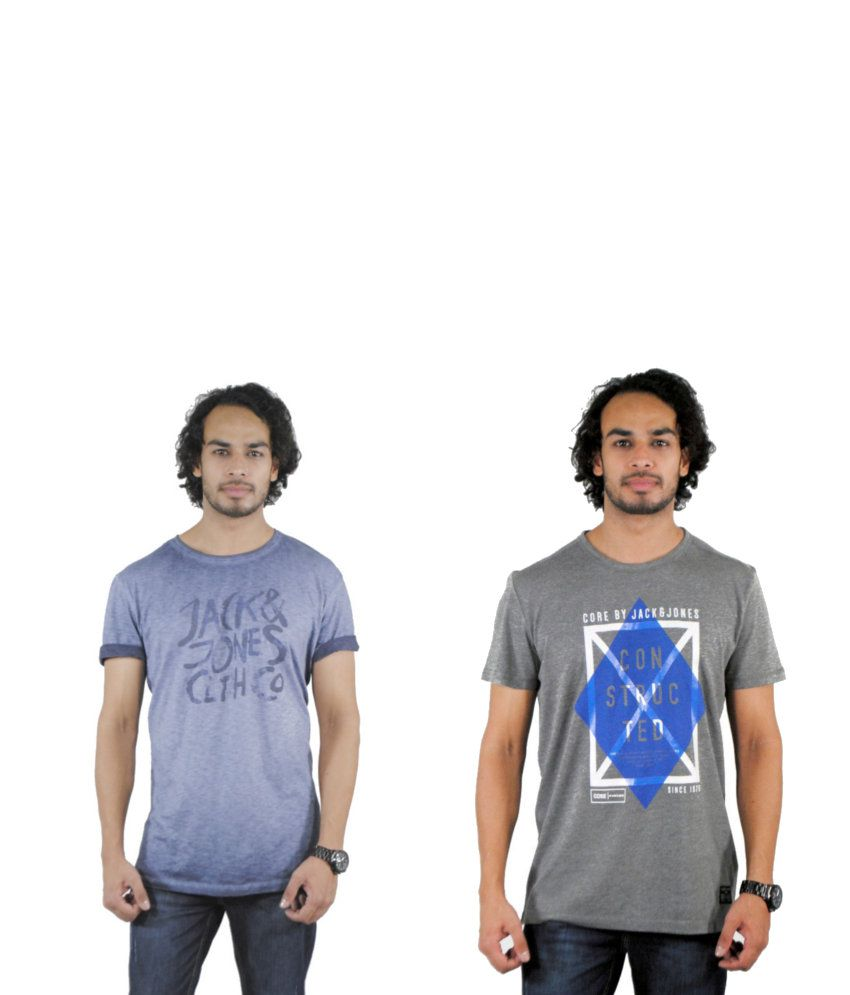 J&J Combo of 2 Gray and Blue Cotton T-shirts