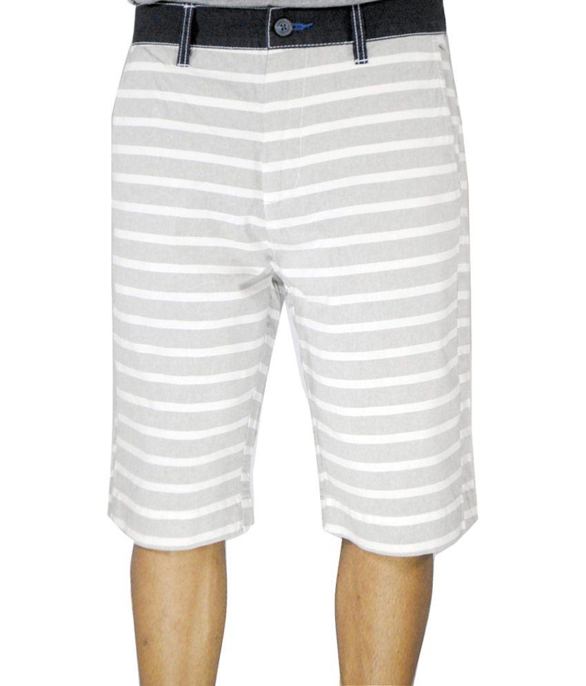 Noir and Shades Gray & White Printed Bermuda Shorts for Men
