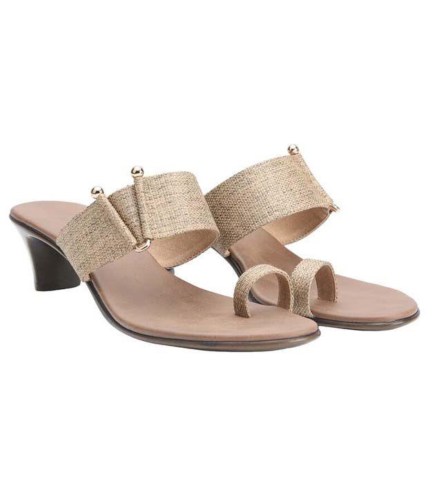 Shoe Bazar Beige Patent Heel Slip-On