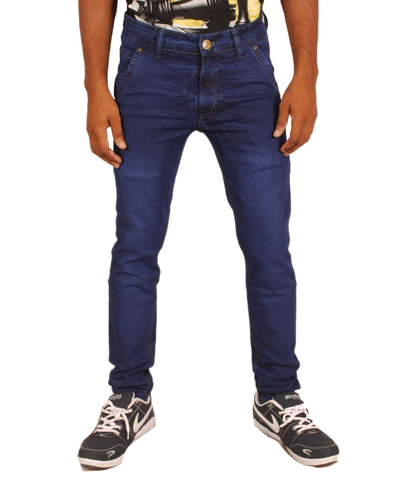 Altran Blue Cotton Blend Tapered Fit Faded Jeans
