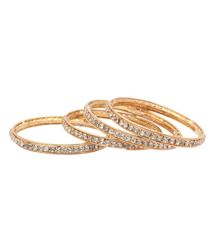 Gold & More Gold Plated Diamond Bangles - Set Of 4