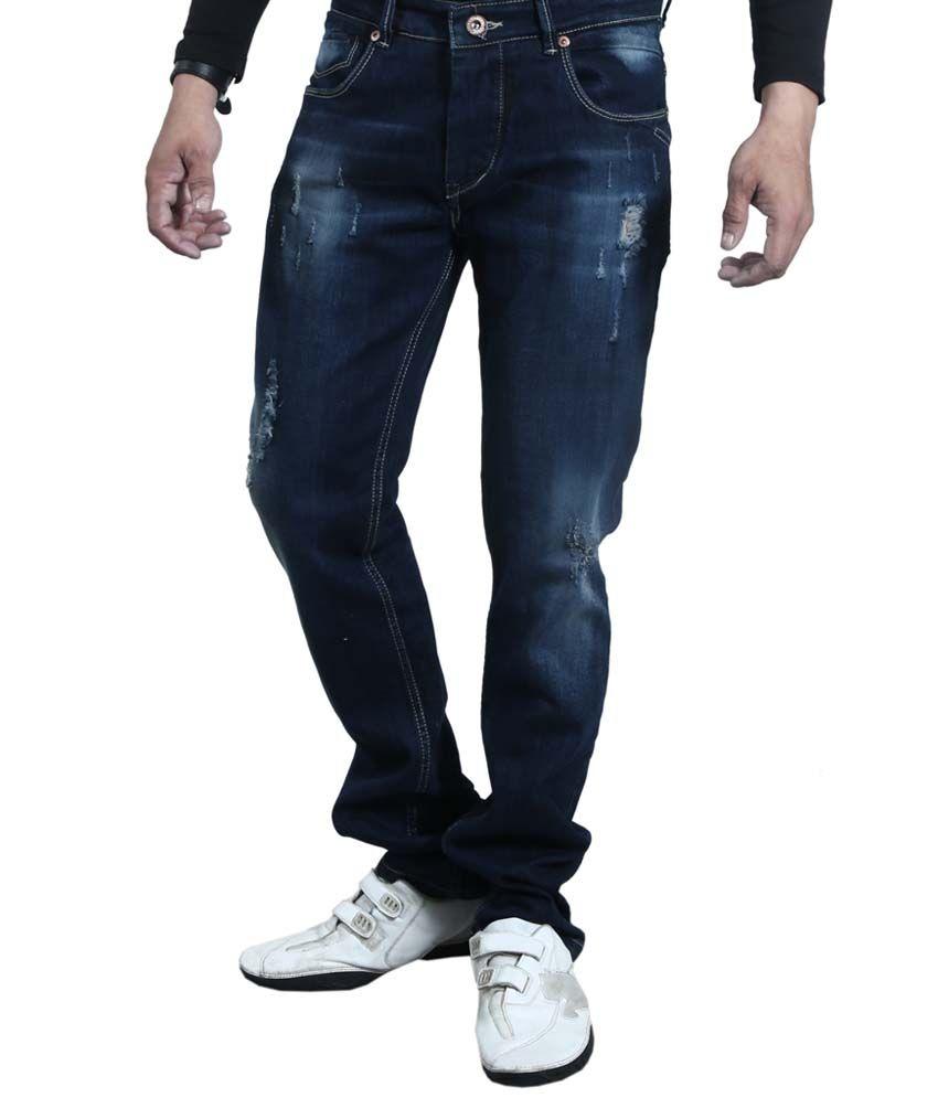 Rock Island Blue Cotton Blend Faded Slim Fit Men's Jeans