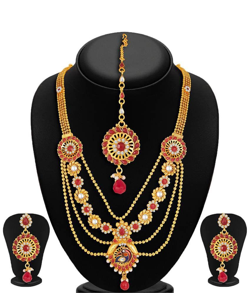 Sukkhi- Kritika Kamra Golden & Red 4 Strings Peacock Necklace Set With Maang Tika