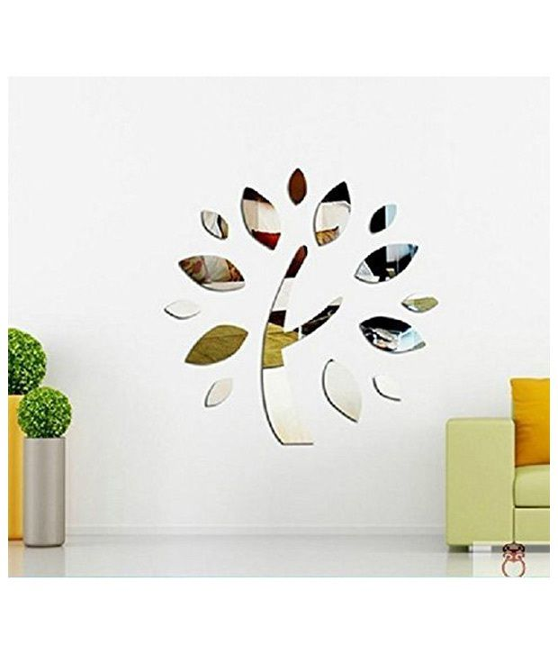 Elite Collection 3D Acrylic Home Decor Wall Sticker Tree Mirror