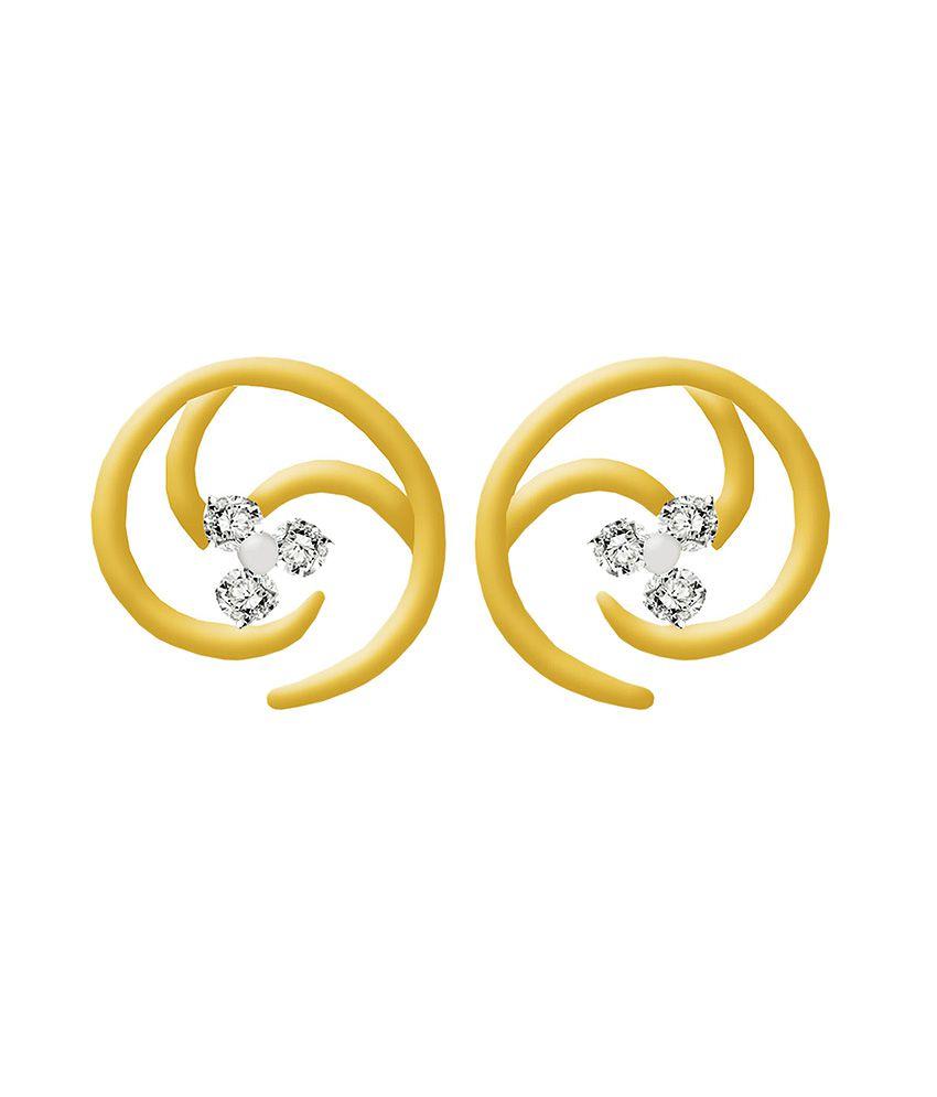 Gunjan Diamond 18kt Gold Colour Spark Studed Earrings