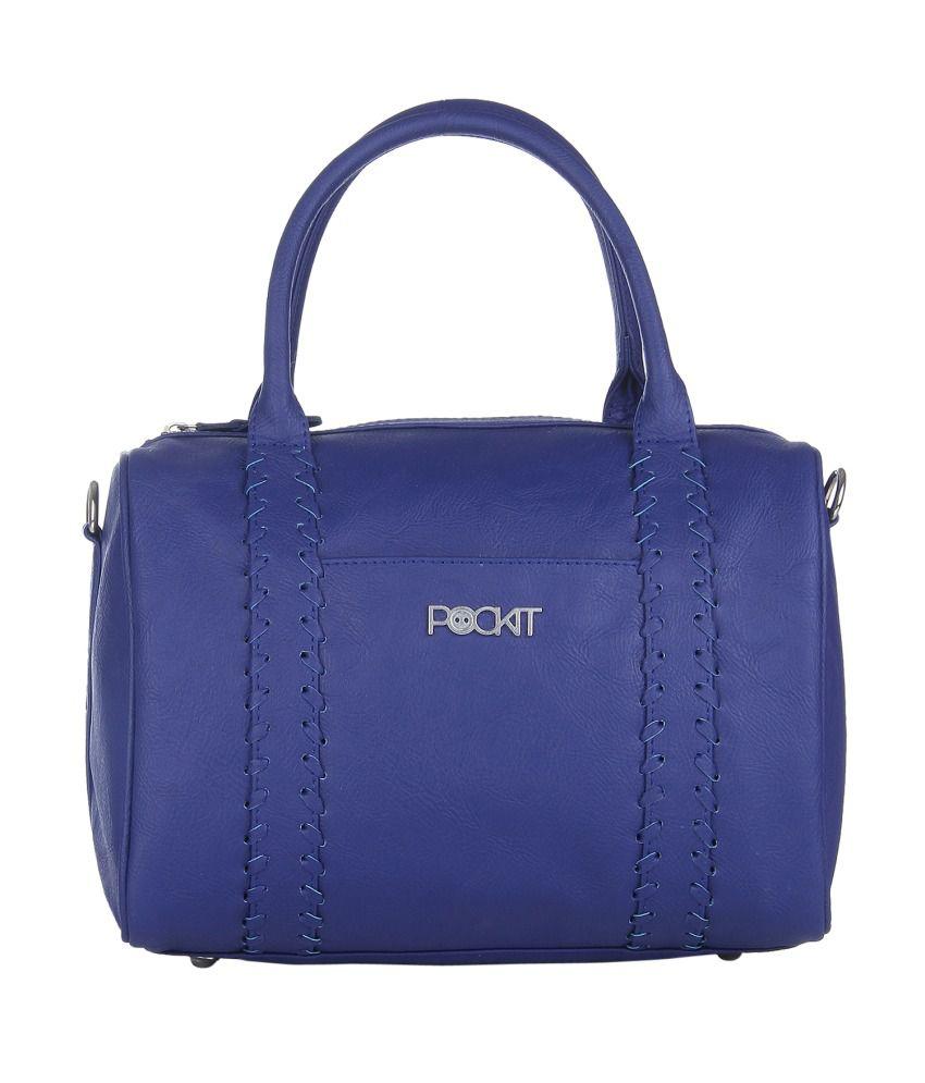 Pockit Blue P.U. Shoulder Bag