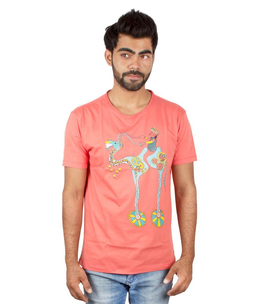 Pulpypapaya Peach Cotton Printed T-Shirt