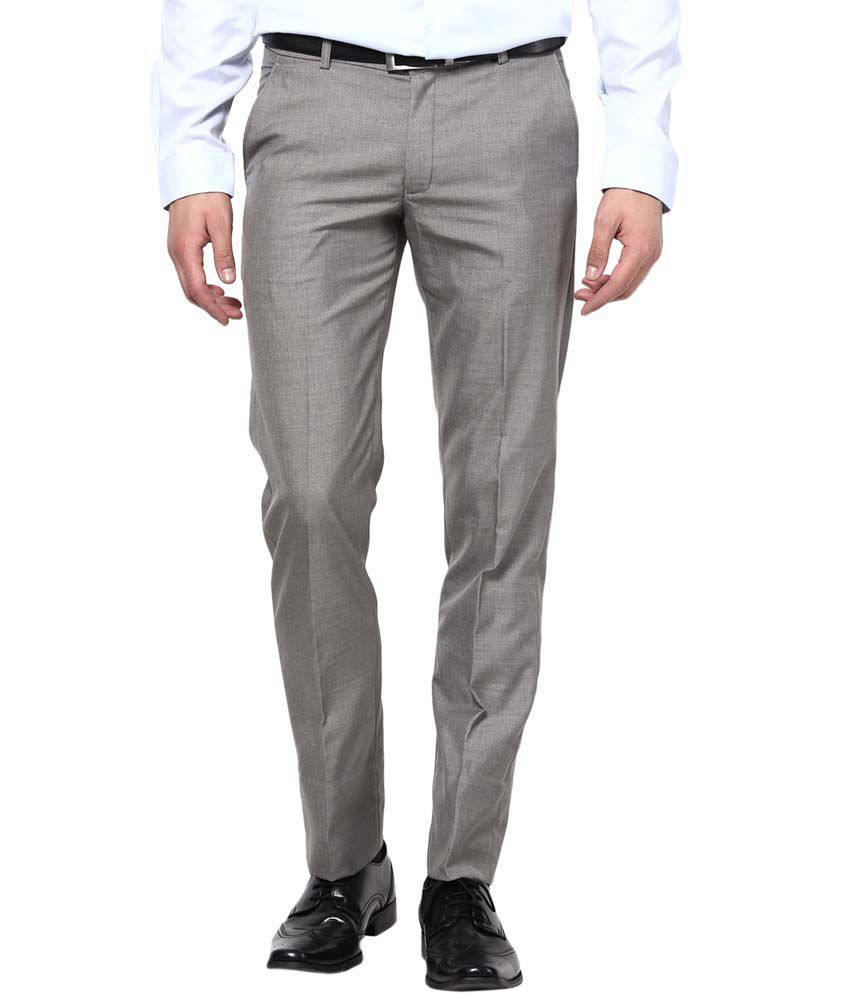 Bukkl Slim Fit Grey Formal Trouser