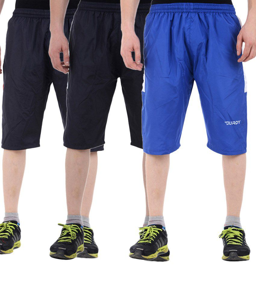 Burdy Comfortable Combo Of 3 Blue & Navy Blue Polyester Capris With Net