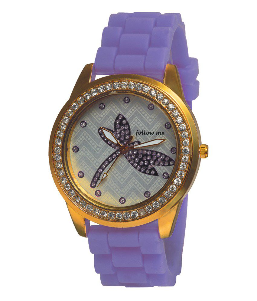 Follow Me Follow Me Violet Silicone Round Analog Quartz Watch