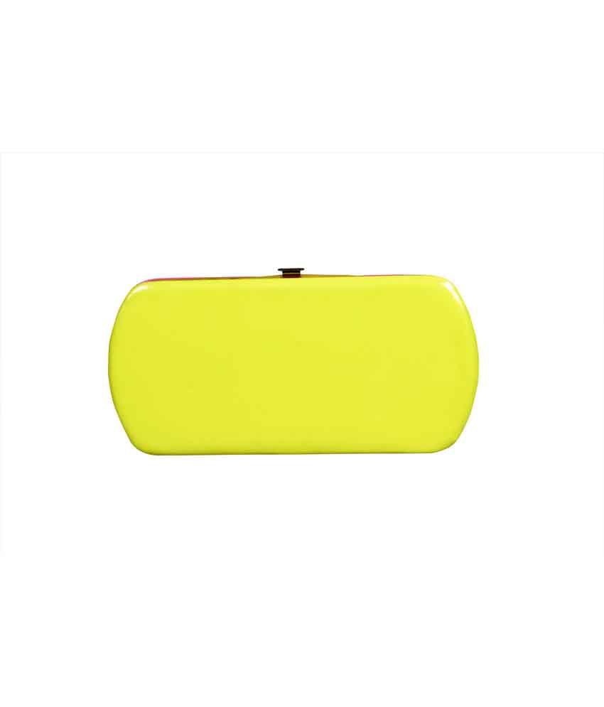 Top-zone Yellow And Pink Non Leather Button Fashionable Regular Wallet For Women