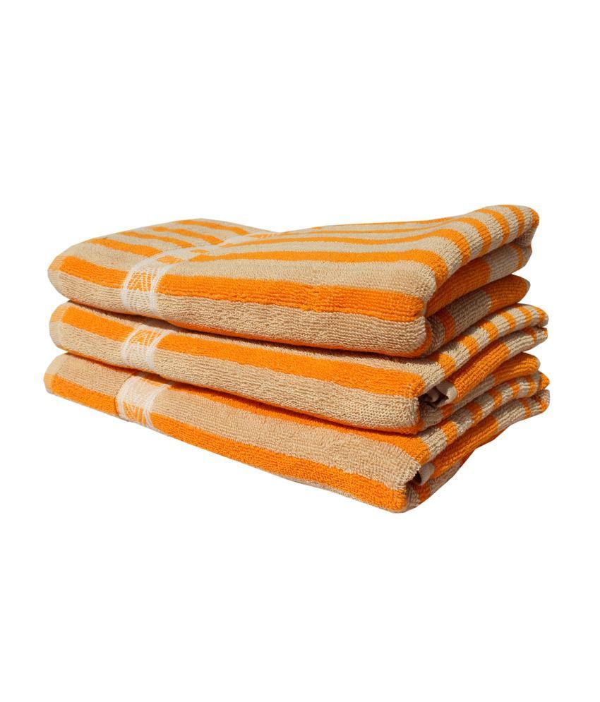 Mandhania Set Of 3 Cotton Towels Orange Buy Mandhania