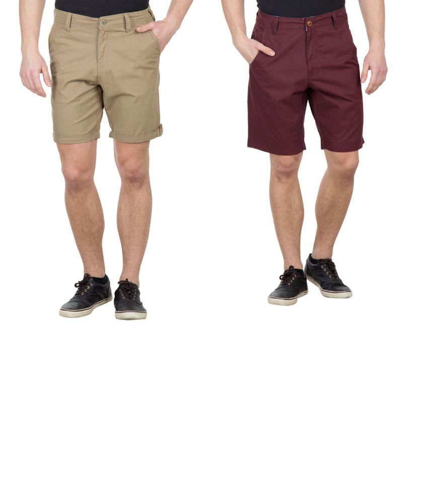 Wilkins & Tuscany Combo Of Khaki And Maroon Cotton Shorts