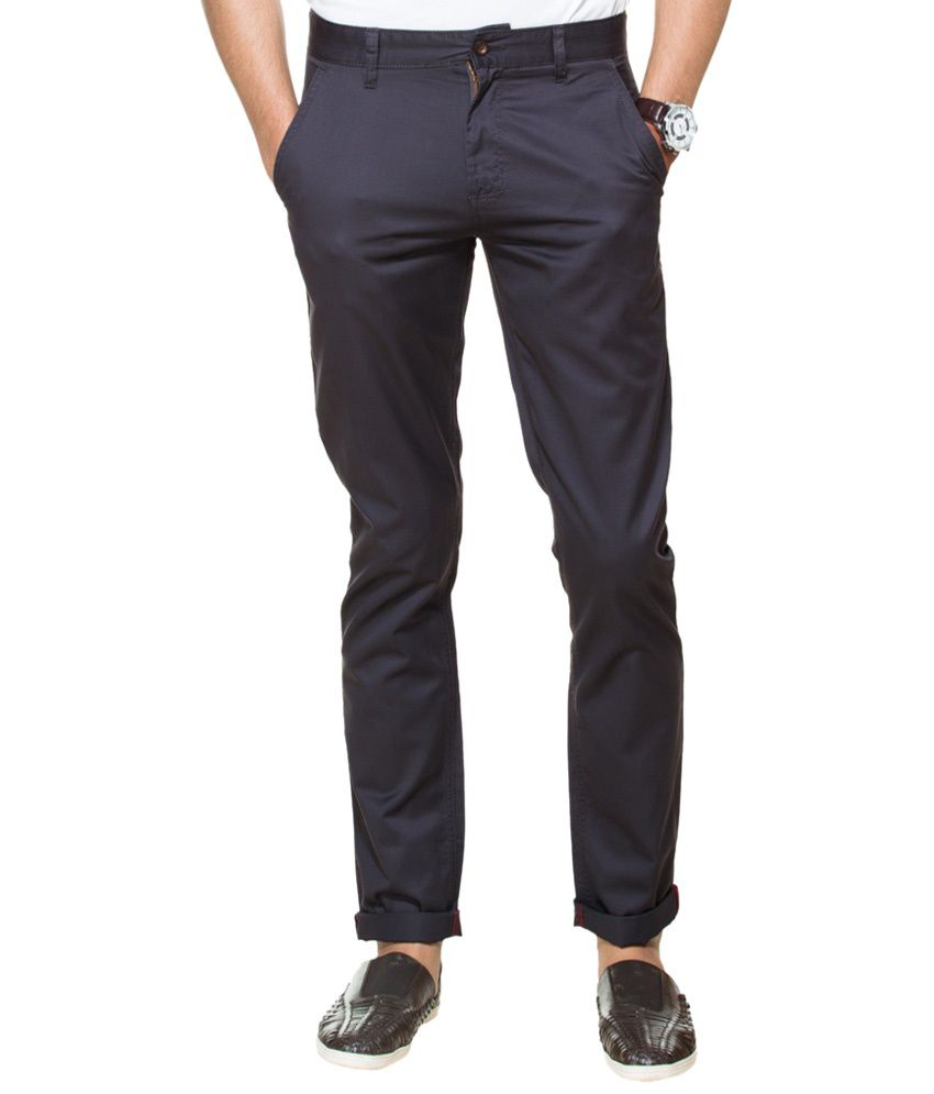 Zovi Navy Blue Slim Fit Casual Chinos For Men
