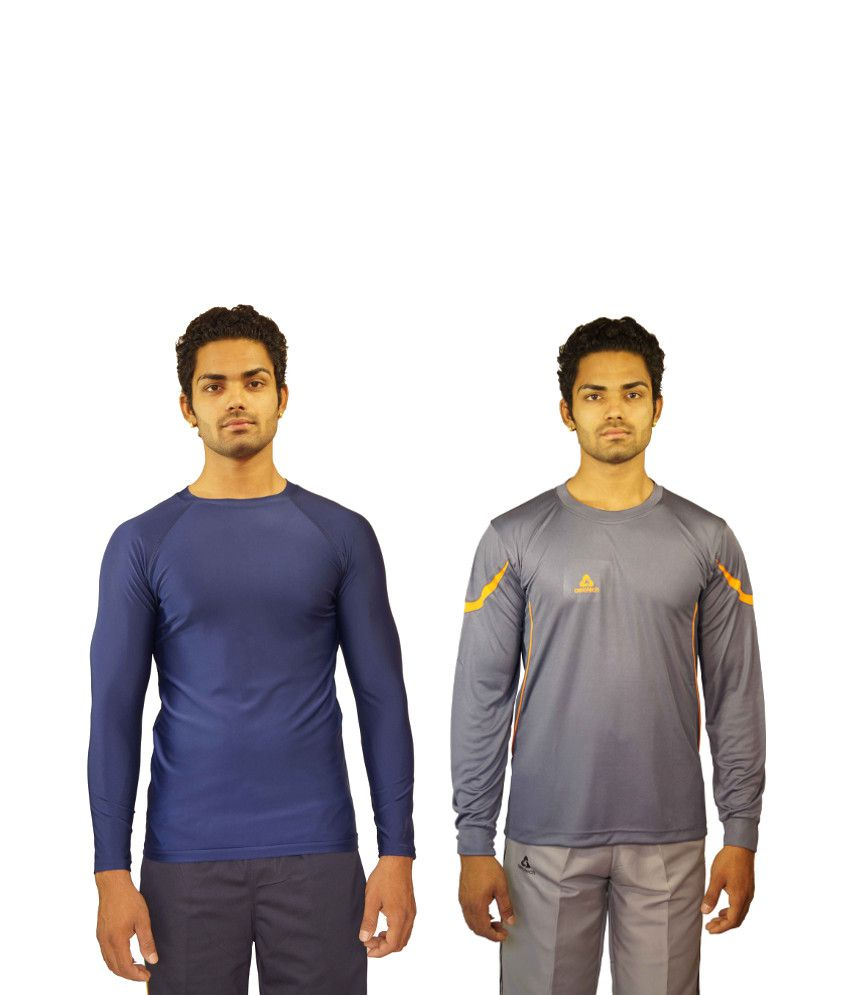 Aerotech Combo Of 2 Blue and Gray Blended Cotton T-shirts