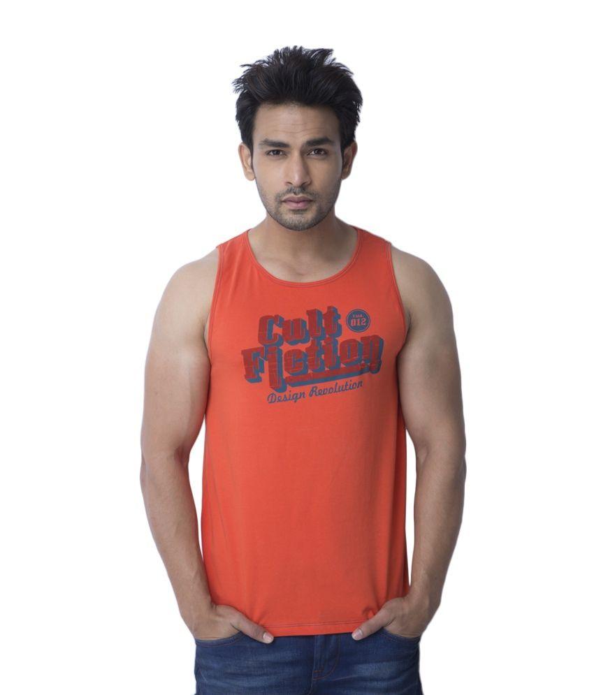 Cult Fiction Orange Cotton T Shirt For Men
