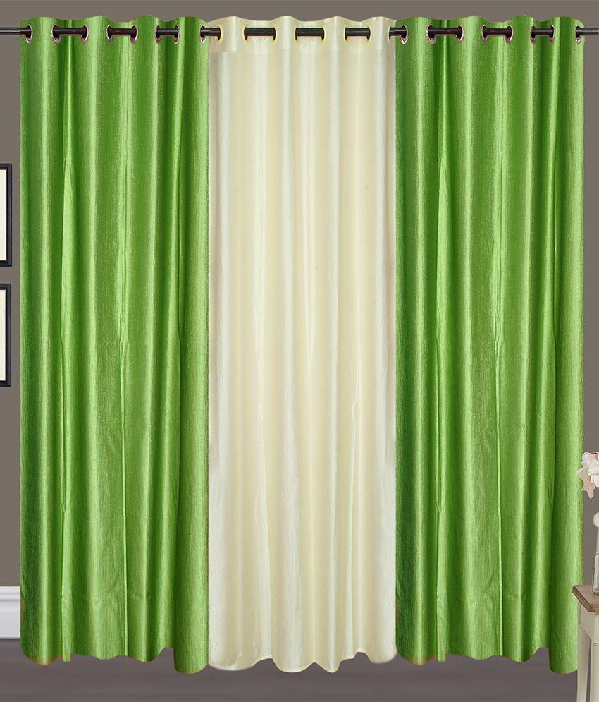 Handloom Hut Set of 3 Door Eyelet Curtains Solid White&Green