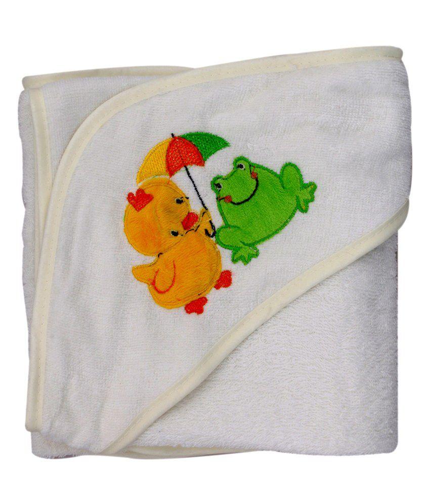 Belle Maison White Hooded Veloure Baby Towel (75 x 75 CM)