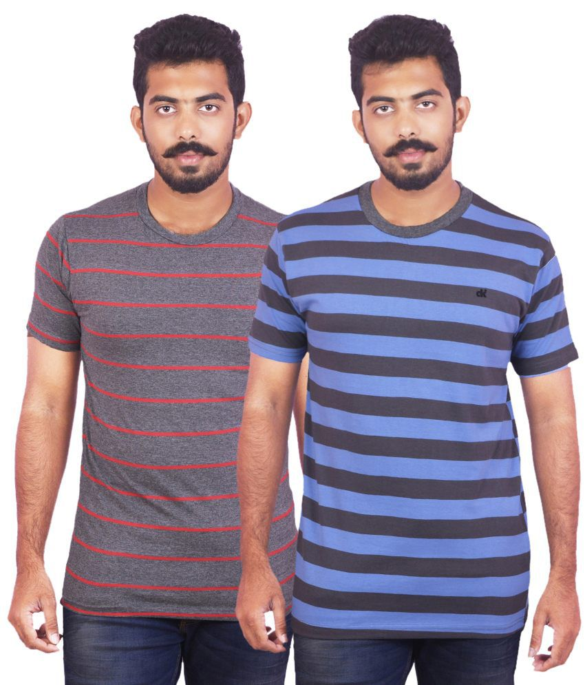 Dkclues Multi Cotton Round Neck Striped T Shirt (Combo of 2)