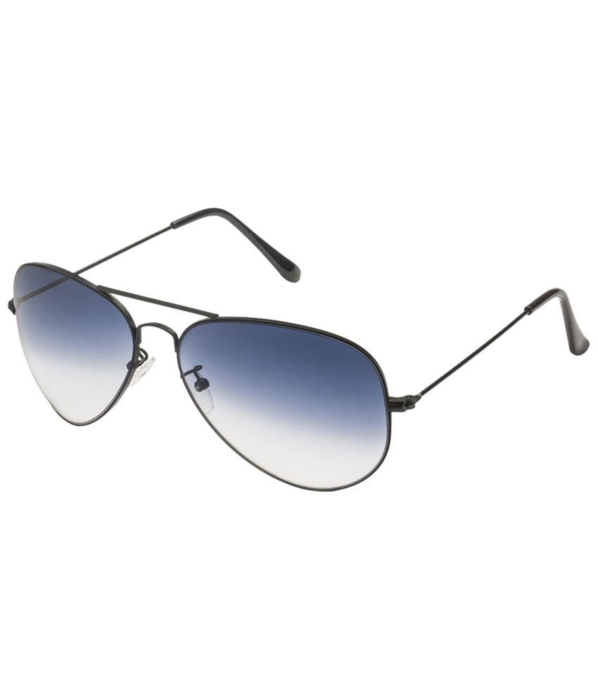 Mask Enhanced White & Blue Unisex Aviator Sunglasses