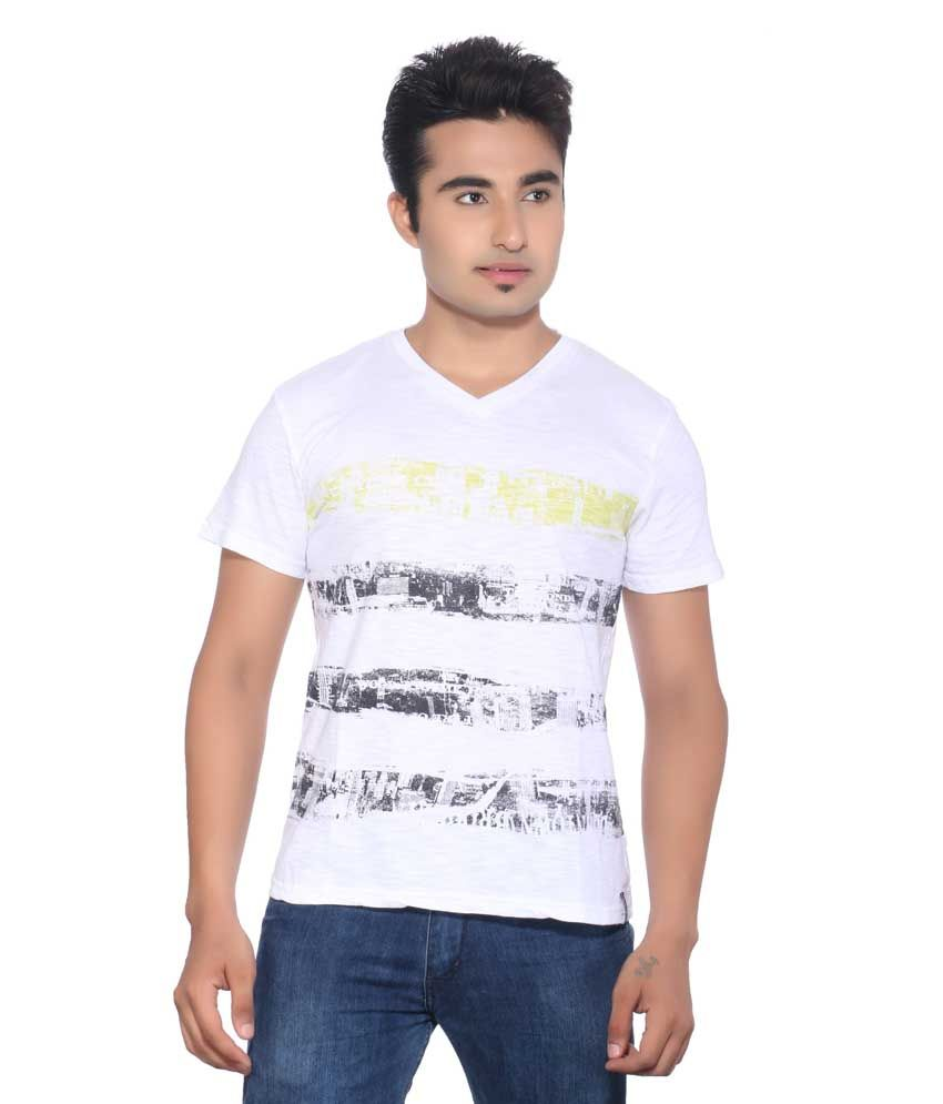 Protest White Cotton Printed T-Shirt