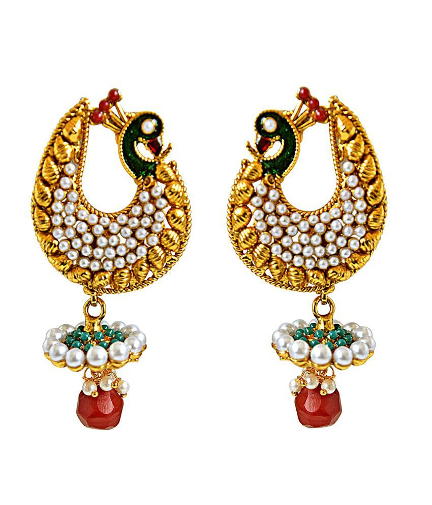 Surat Diamond Traditional Peacock Shaped Red & Green Enamelled Fashion Jewellery Gold Plated Earrings
