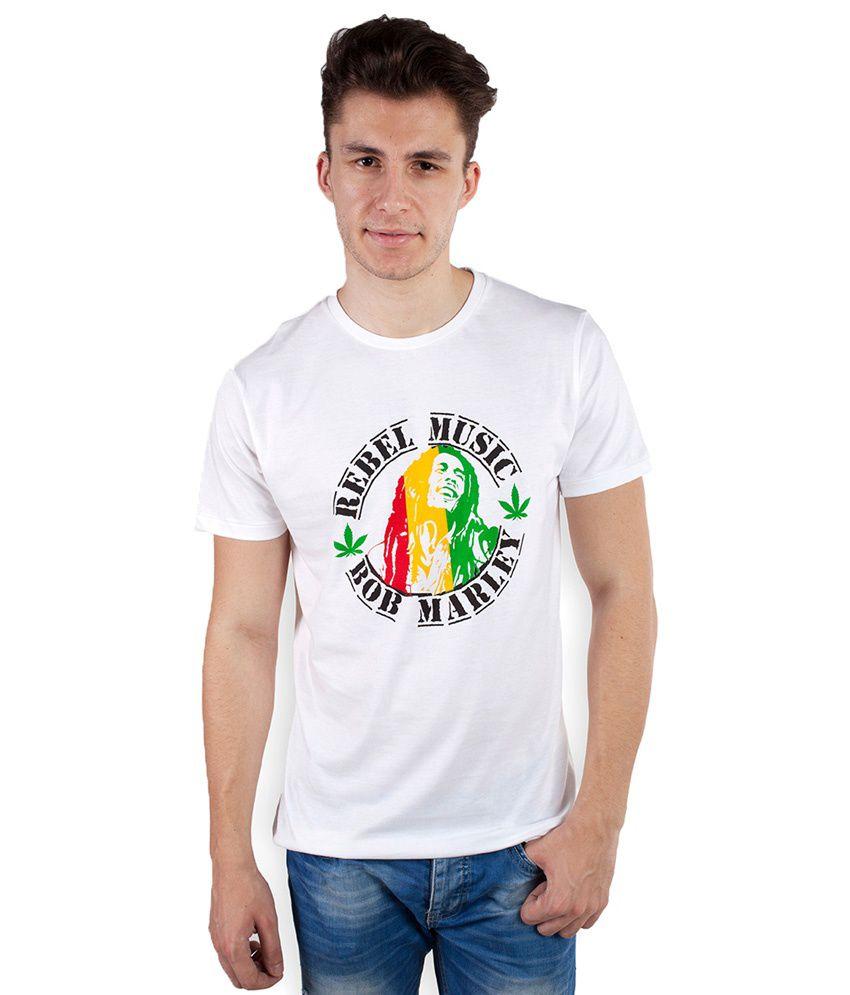 Tomo White Cotton Round Neck Printed T-shirt