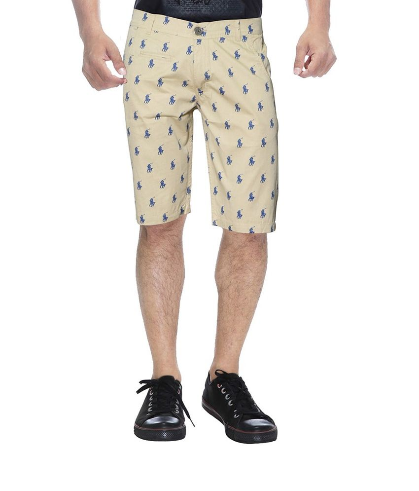 Clickroo Beige Cotton Printed Shorts