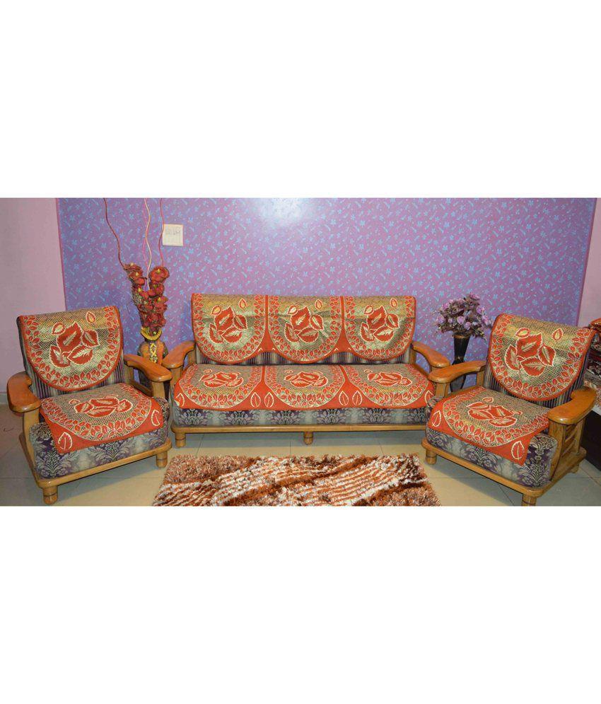 Houseattire Orange Poly Cotton Floral Sofa Cover Best