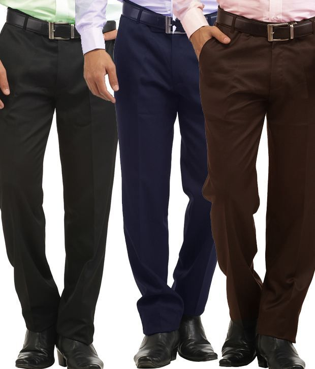 Inspire Pack Of 3 Slim Formal Trousers (Black, Blue & Coffee)