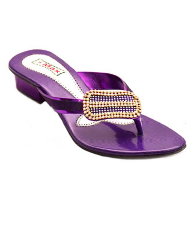 Naman Traders Purple Fabric Low Heel Slip-ons