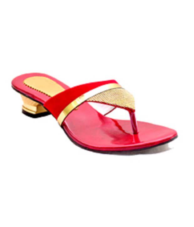 Naman Traders Red Fabric Low Heel Slip-ons