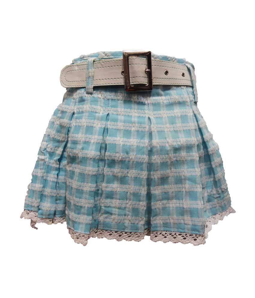 Threads Blue Cotton Elastic Printed Skirts