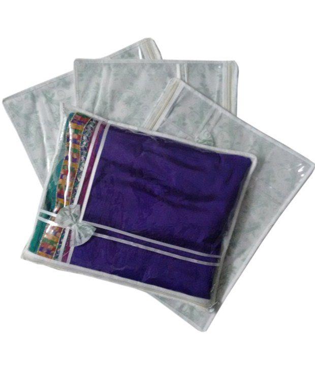 Fashion Bizz Designer Transparent Set Of 4 Multicolor Saree Cover