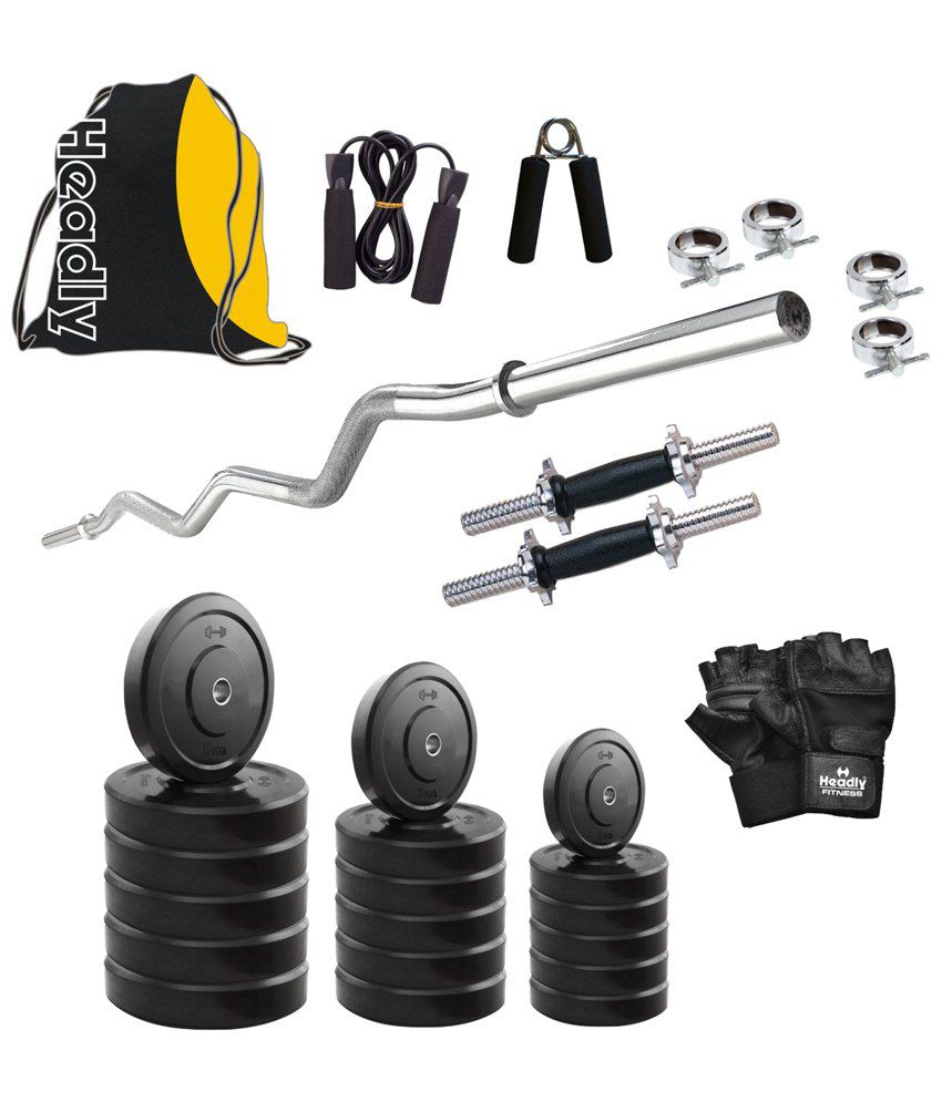 Gym Equipment Vadodara: Headly 52 Kg Efficient Home Gym Set With 2 Dumbbell Rods