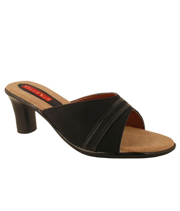 Stiletto Black Medium Heel Sandals