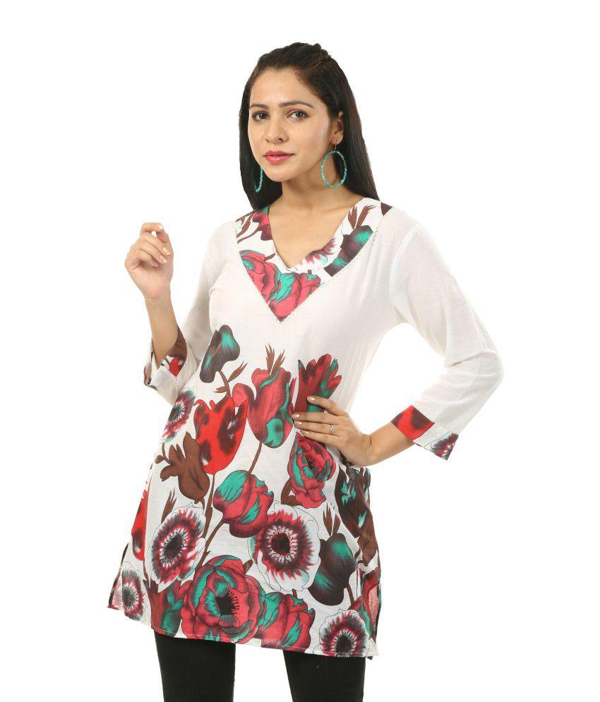 India Inc White Cotton Tunics