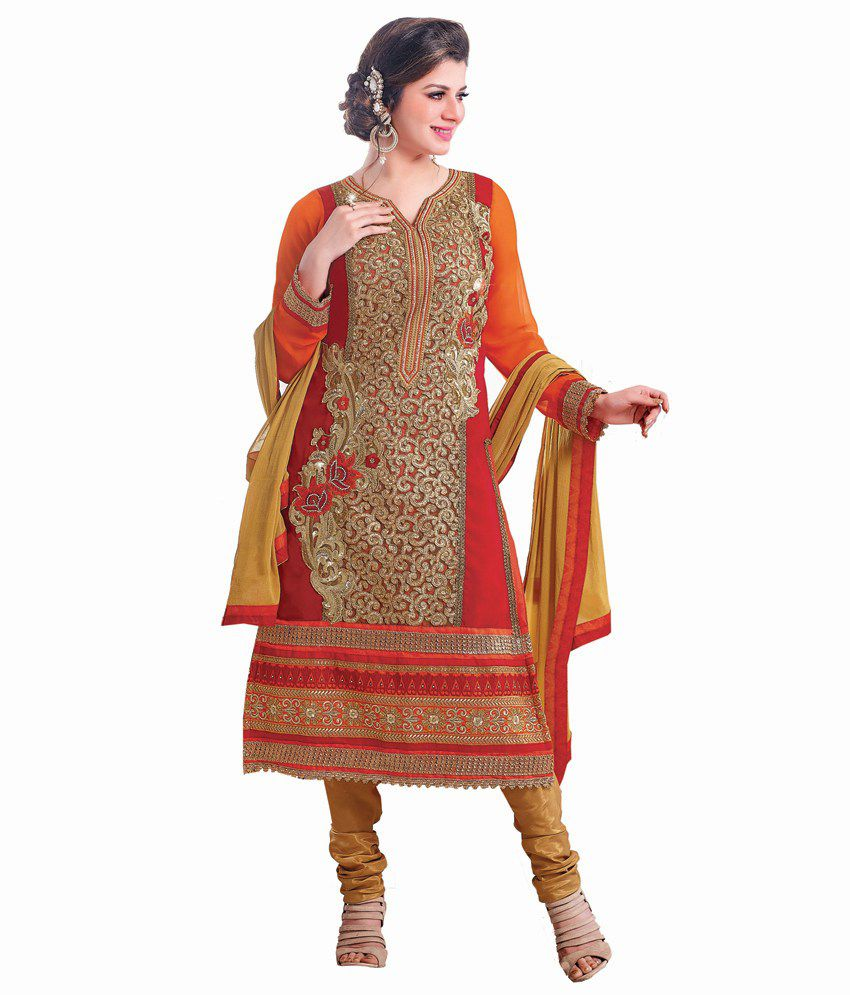Khushali Fashion Red Faux Georgette Unstitched Dress Material