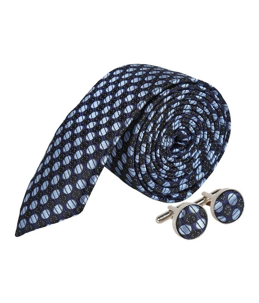 Sampada Black Micro Fiber J3 Combo Of Necktie And Cufflinks