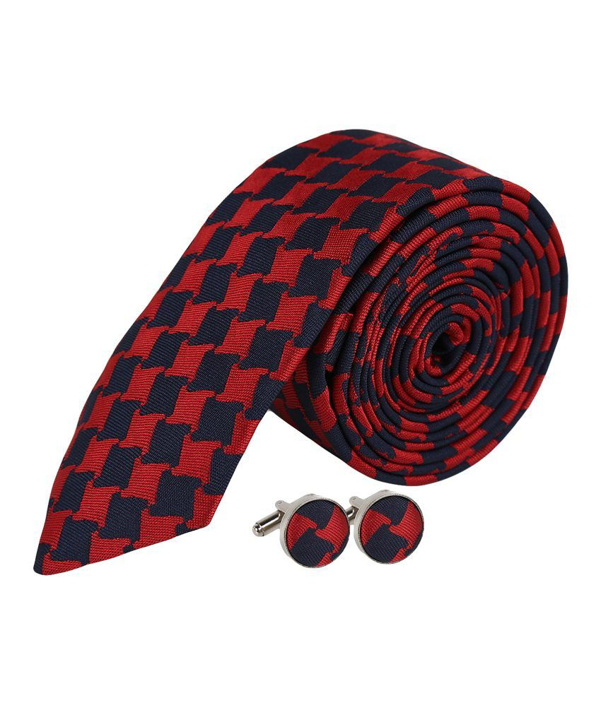 Sampada Red Micro Fiber J3 Combo Of Necktie And Cufflinks