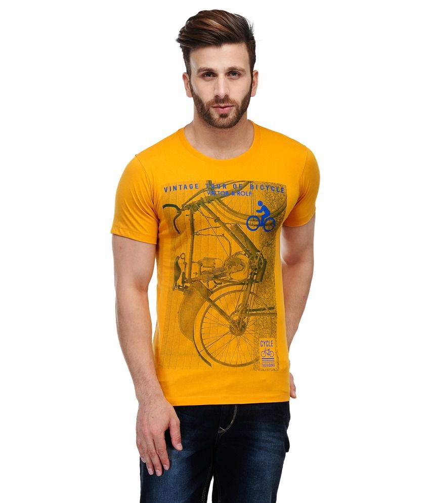 Ausy Yellow Cotton T-Shirt