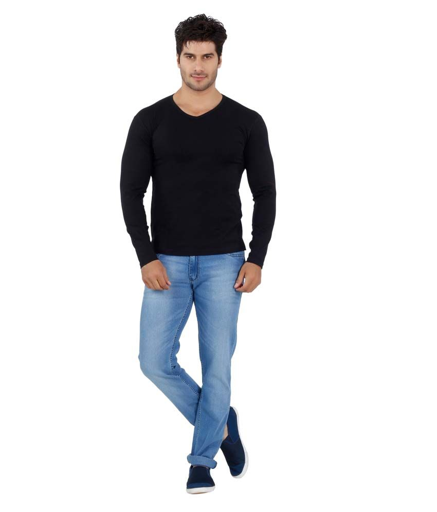 Eetee Black Cotton Printed Half Sleeve Round Neck T-Shirt