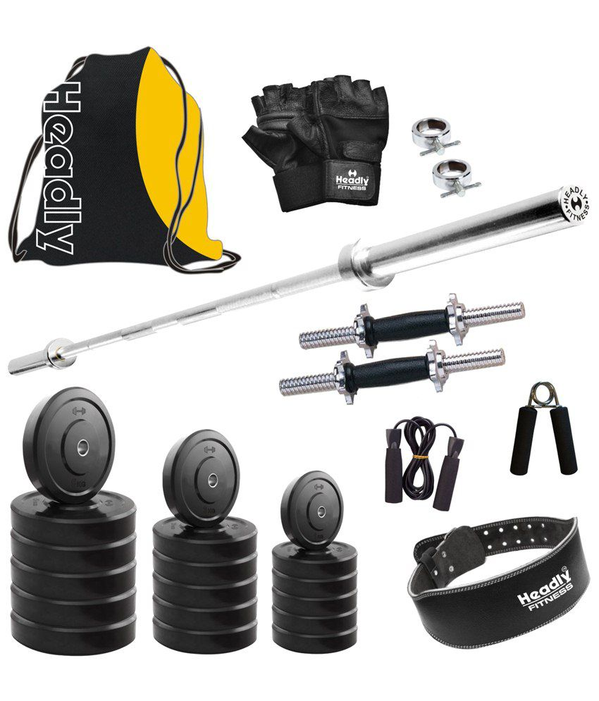 Headly kg home gym set with plain rod dumbbell rods