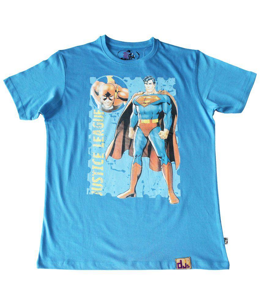 Justice League Blue & Orange Superman Standing Half Sleeve T-shirt for Men