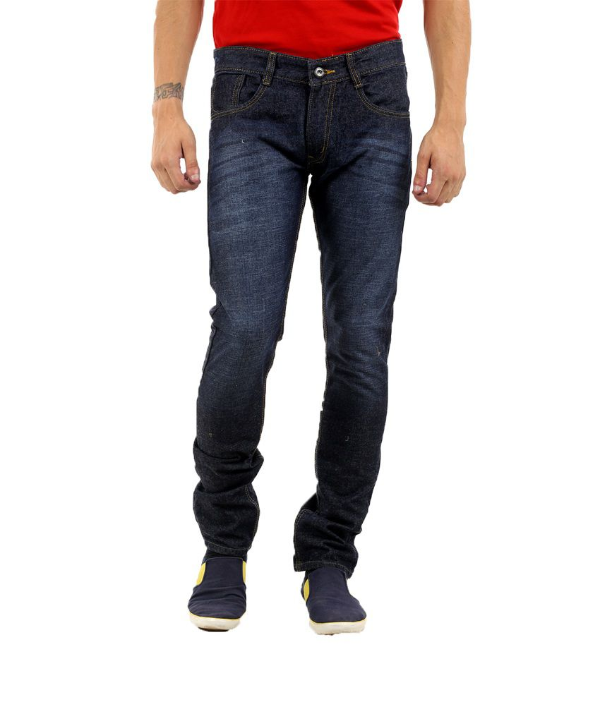 Naughty Walts Blue Cotton Blend Faded Jeans