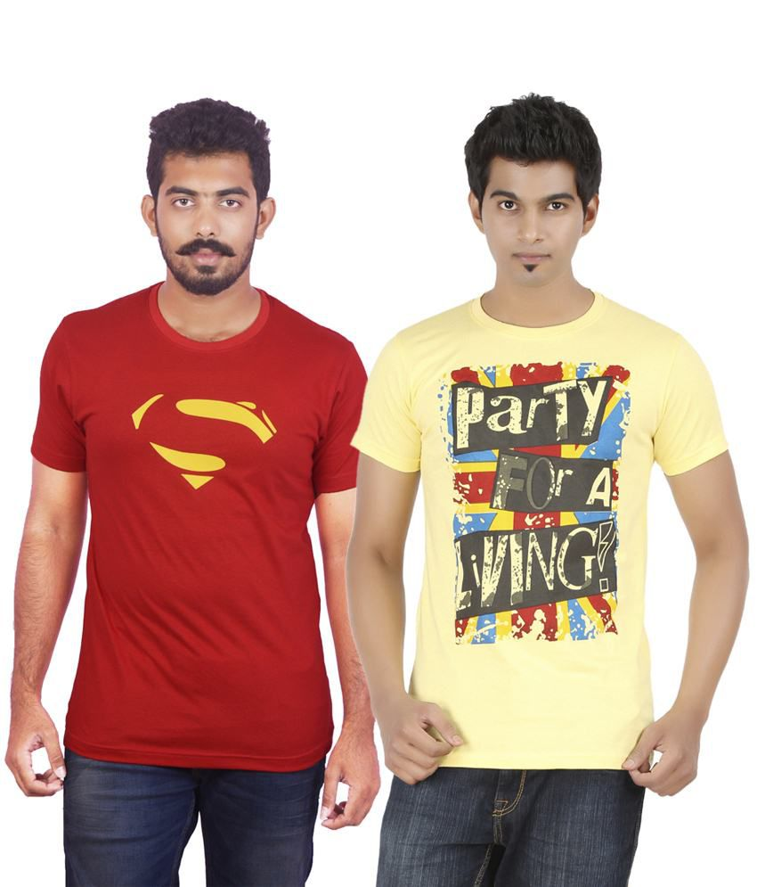 DK Clues Combo Of 2 Red & Yellow Casual Half Sleeve T Shirts For Men